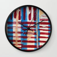 coasters Wall Clocks featuring Popsicles and Roller Coasters by Lauren Packard