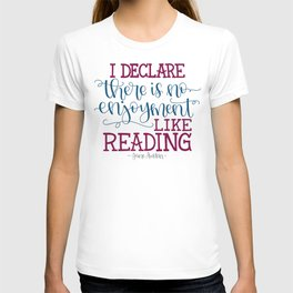 Jane Austen Quote (Deep Colors) T-shirt