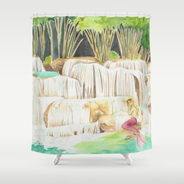 Mermaid at a Waterfall Shower Curtain