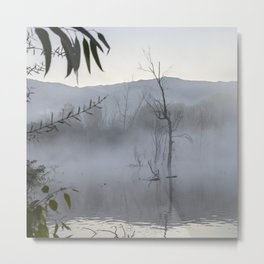 """Dream trees"". Foggy sunrise at the lagoon Metal Print"