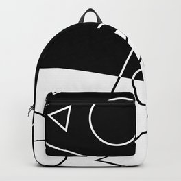 Black and White Geometric Shapes Wave Backpack