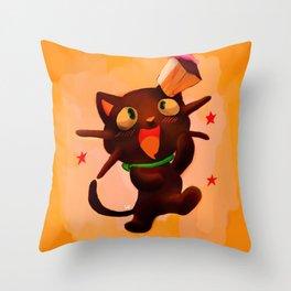 Choco Cat Throw Pillow
