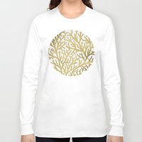 coral Long Sleeve T-shirts featuring Gold Coral by Cat Coquillette