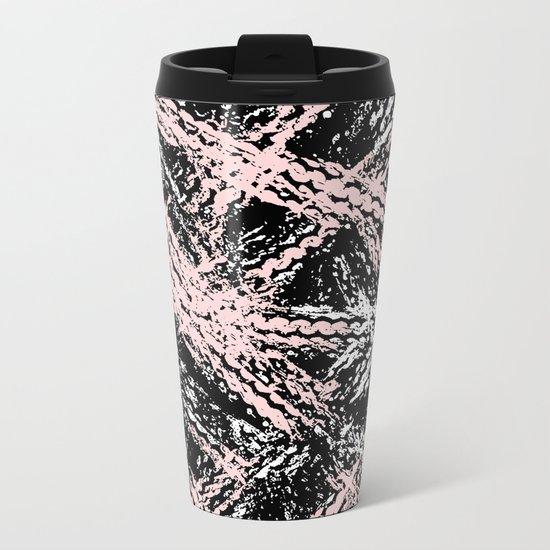 Desert Tracks Pink Metal Travel Mug