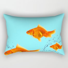 THREE GOLDFISH IN AQUA WATER ABSTRACT ART Rectangular Pillow