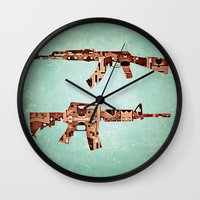 camouflage Wall Clocks featuring camouflage by Steve W Schwartz Art