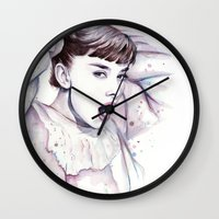 hepburn Wall Clocks featuring Audrey Hepburn Watercolor by Olechka
