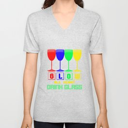 Glow Party Neon All Night Drink Glass Unisex V-Neck