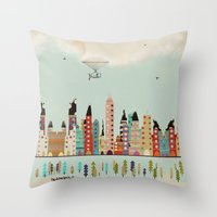 indiana Throw Pillows featuring visit Indianapolis Indiana by bri.buckley