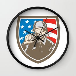 World War Two Soldier American Grenade Crest Woodcut Wall Clock