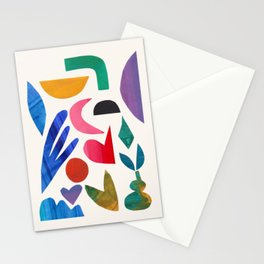'Aimless Memory' Abstract Colorful Paper Collage Mid Century Fun Retro Style by Ejaaz Haniff Stationery Cards