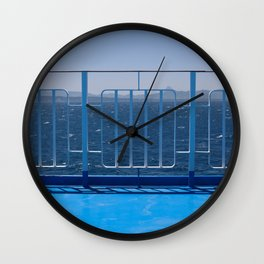 """Travel Photography """"Blue abstract image taken on a Greek ferry in the Ionian sea"""" fine art photo print in color.  Wall Clock"""