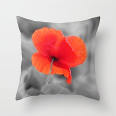 Poppy black and white photography with red splashes of color Throw Pillow