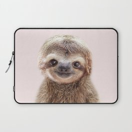Baby Sloth With Pink Background, Baby Animals Art Print By Synplus Laptop Sleeve