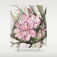 cherry blossom Shower Curtains featuring Cherry Blossom by Olechka