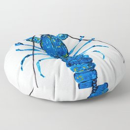 Blue Lobster Wall Art, Lobster Bathroom Decor, Lobster Crustacean Marine Biology Floor Pillow