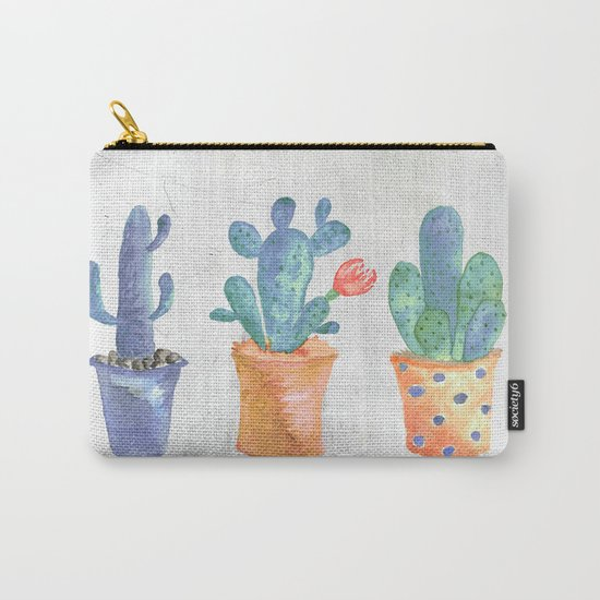 Three Blue Cacti Carry-All Pouch