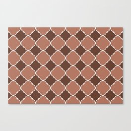 Sherwin Williams Canyon Clay Ornamental Moroccan Tile Pattern with White Border Canvas Print