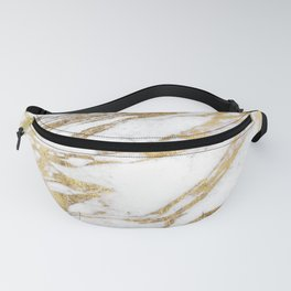 Chic Elegant White and Gold Marble Pattern Fanny Pack