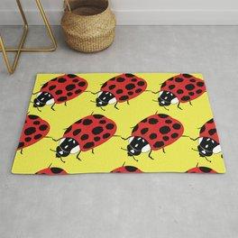 Ladybug Print - Yellow Rug