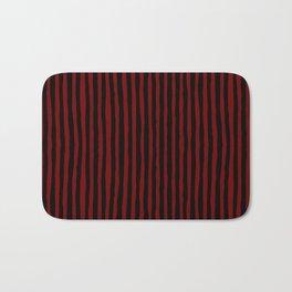 Black and Red Stripes Bath Mat