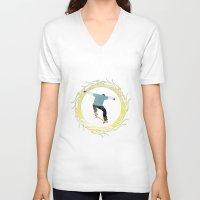 skateboard V-neck T-shirts featuring Skateboard 3 by Aquamarine Studio