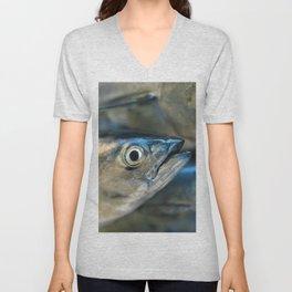 Big eye, tuna, fish, still life, photo, fine art, print, nature, sea, fishing, detail, blue Unisex V-Neck