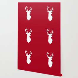 Deer head. White and red. Wallpaper