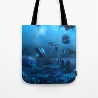 submarine Tote Bags featuring Submarine by Misko Stanisic