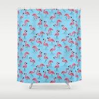 flamingos Shower Curtains featuring Flamingos by WanderingBert / David Creighton-Pester