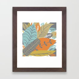 Bright Tropical Leaf Retro Mid Century Modern Framed Art Print
