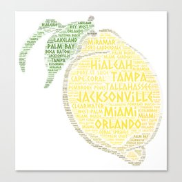 Citrus Fruit illustrated with cities of Florida State USA Canvas Print