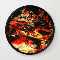 camp Wall Clocks featuring Camp Fire by James Peart