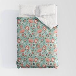 Folk Art Florals in Mint Comforters