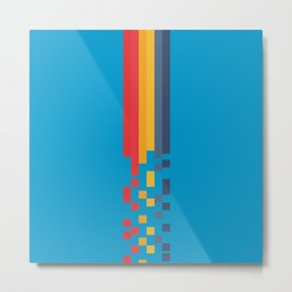 Classic 80s Video Game Style Retro Stripes Pixel Drops - Akiko Metal Print