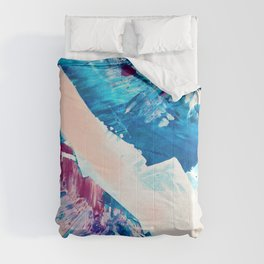 Window Seat: A vibrant abstract painting in pinks and blues by Alyssa Hamilton Art Comforters