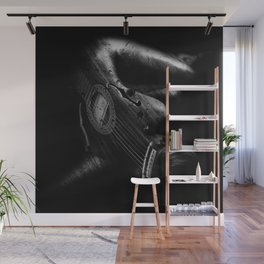 Guitar Woman Black and White Wall Mural
