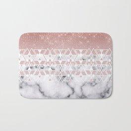 Modern Rose Gold White Marble Geometric Ombre Bath Mat