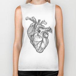Anatomical Heart Ink Sketch Biker Tank