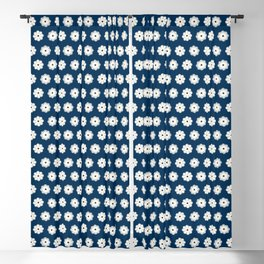 Aligned beige flowers on a dark blue Blackout Curtain