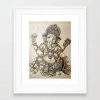 ganesh Framed Art Prints featuring Ganesh by artbyolev