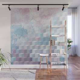 Distressed Cube Pattern - Pink and blue Wall Mural