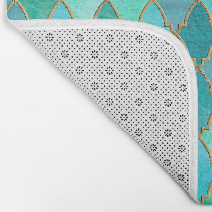 Aqua Teal Mint and Gold Oriental Moroccan Tile pattern Bath Mat