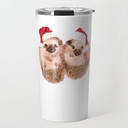 Christmas Twin Hedgehog Travel Mug