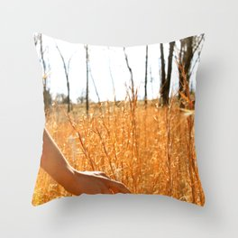 Hands Through Gold Throw Pillow