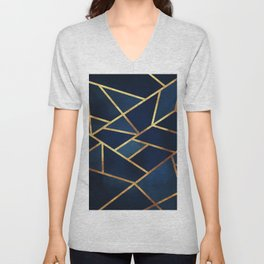 Navy Gold Stone Geometric Unisex V-Neck