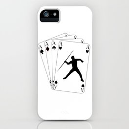 Javelin Throw on Poker Cards 4 Aces for Javelin Thrower iPhone Case