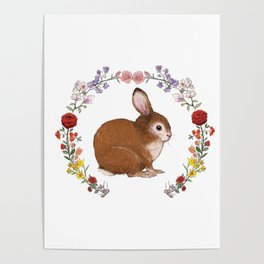 Bunny in Floral Wreath Poster