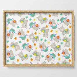 Pattern Of Alpacas, Cute Llamas With Hats, Flowers Serving Tray