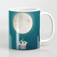 bunnies Mugs featuring moon bunnies by Laura Graves